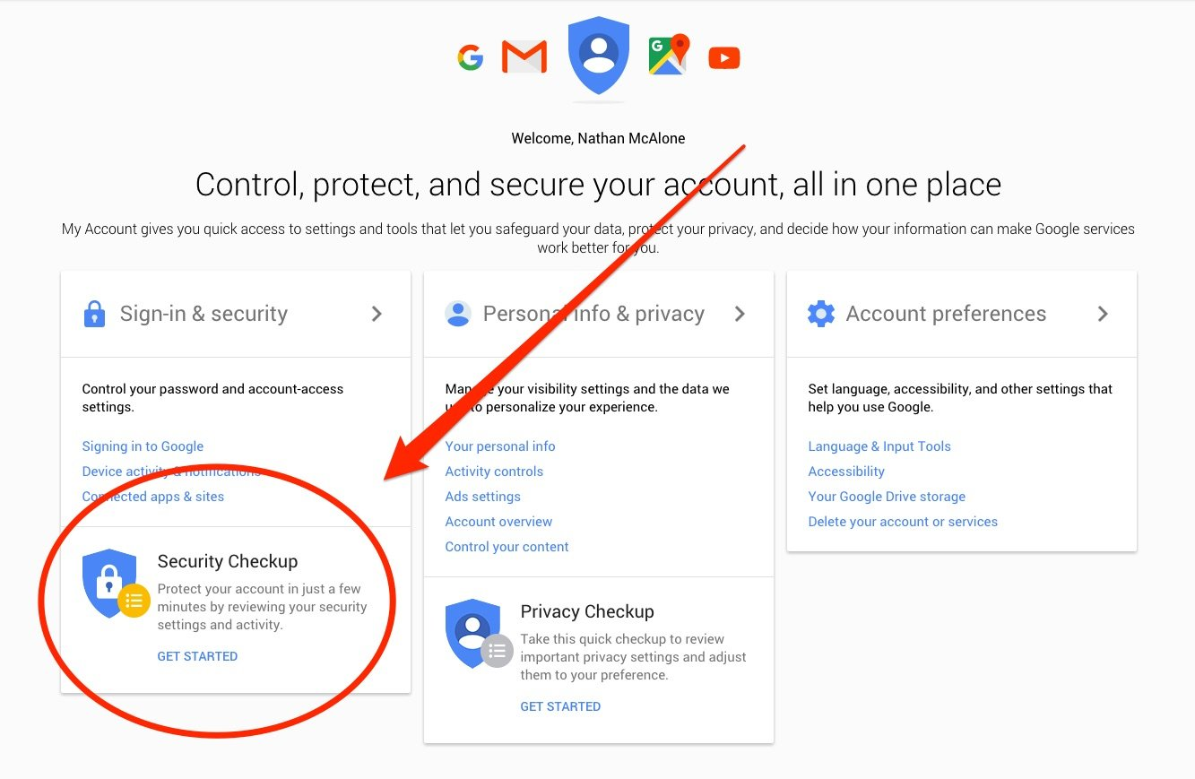 security checkup Google