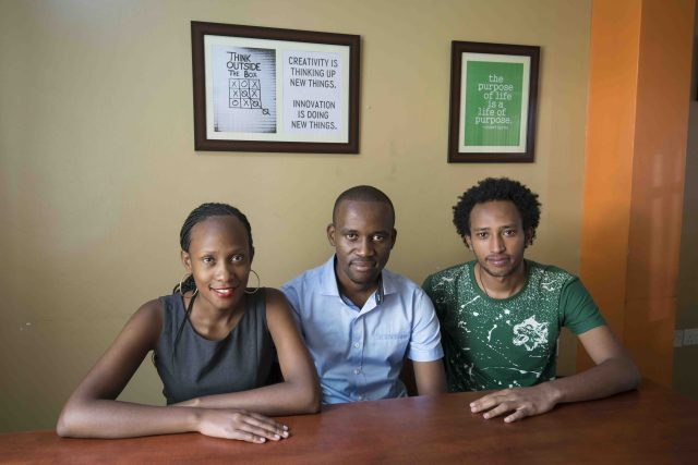 [Brian Turyabagye, centre, Olivia Koburongo, left, and Besufekad Shifferaw, right. Source: Techweez