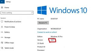 Check Current Version before Windows update