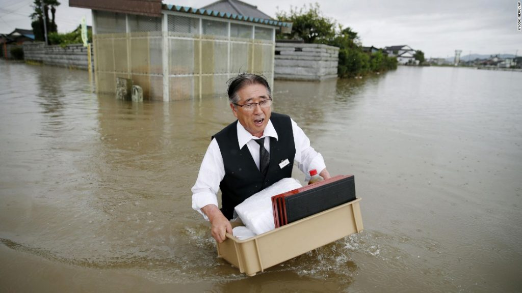 Japanese flood affected people